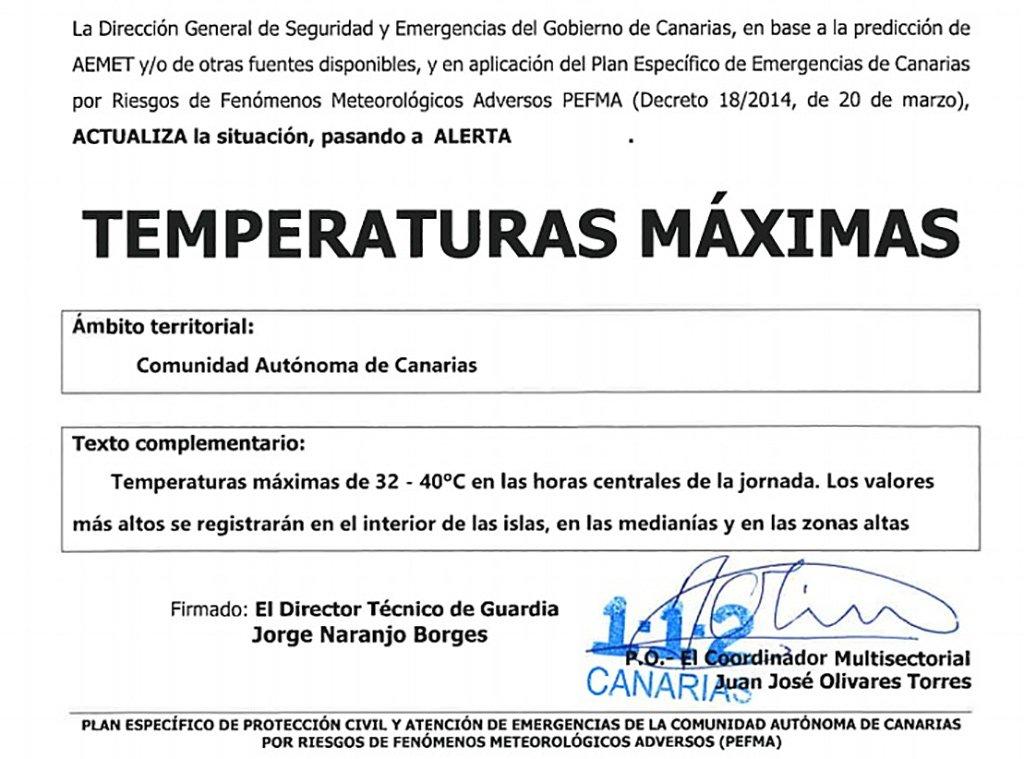 Предупреждение о высоких температурах во всем автономном сообществе