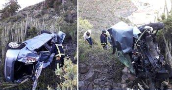 Машина упала в ущелье в Los Campitos - двое тяжело пострадавших
