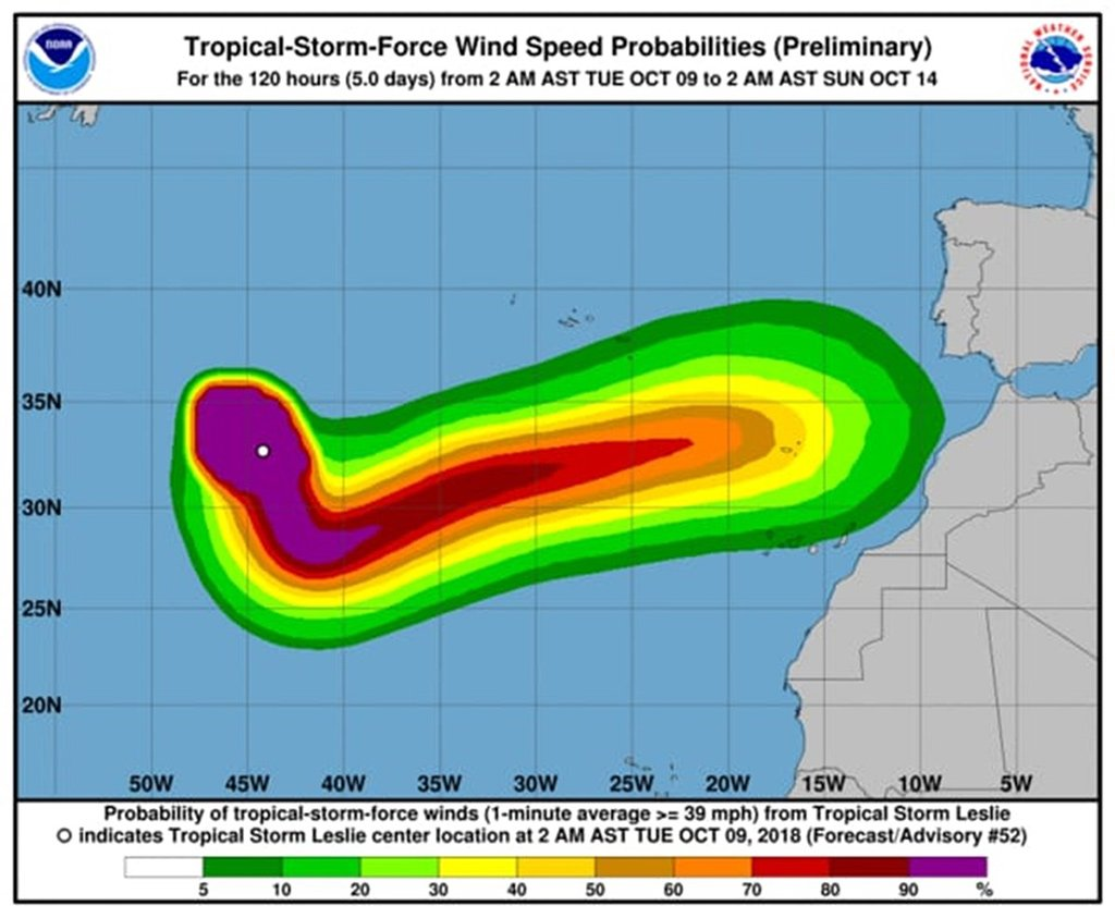 """Leslie, который завтра войдёт в категорию урагана, """"может удивить Канары"""""""