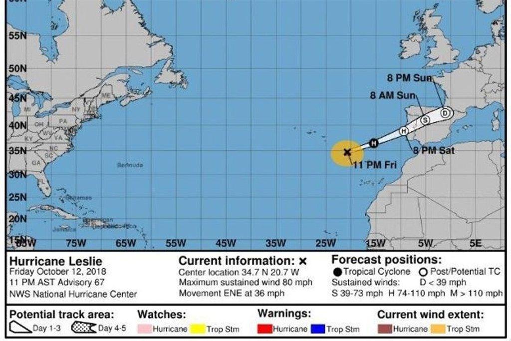 Превратившись в циклон, Leslie посетит полуостров на следующее утро, миновав Канарские острова