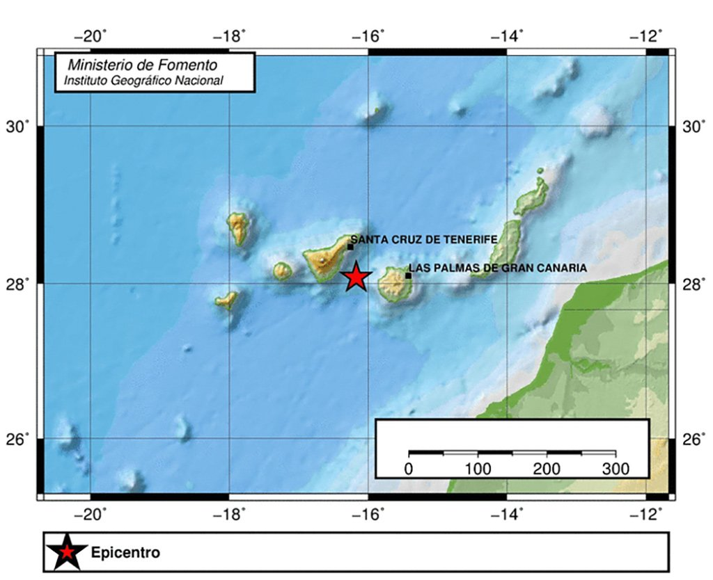 Землетрясение силой 4,2 балла между Тенерифе и Гран-Канария