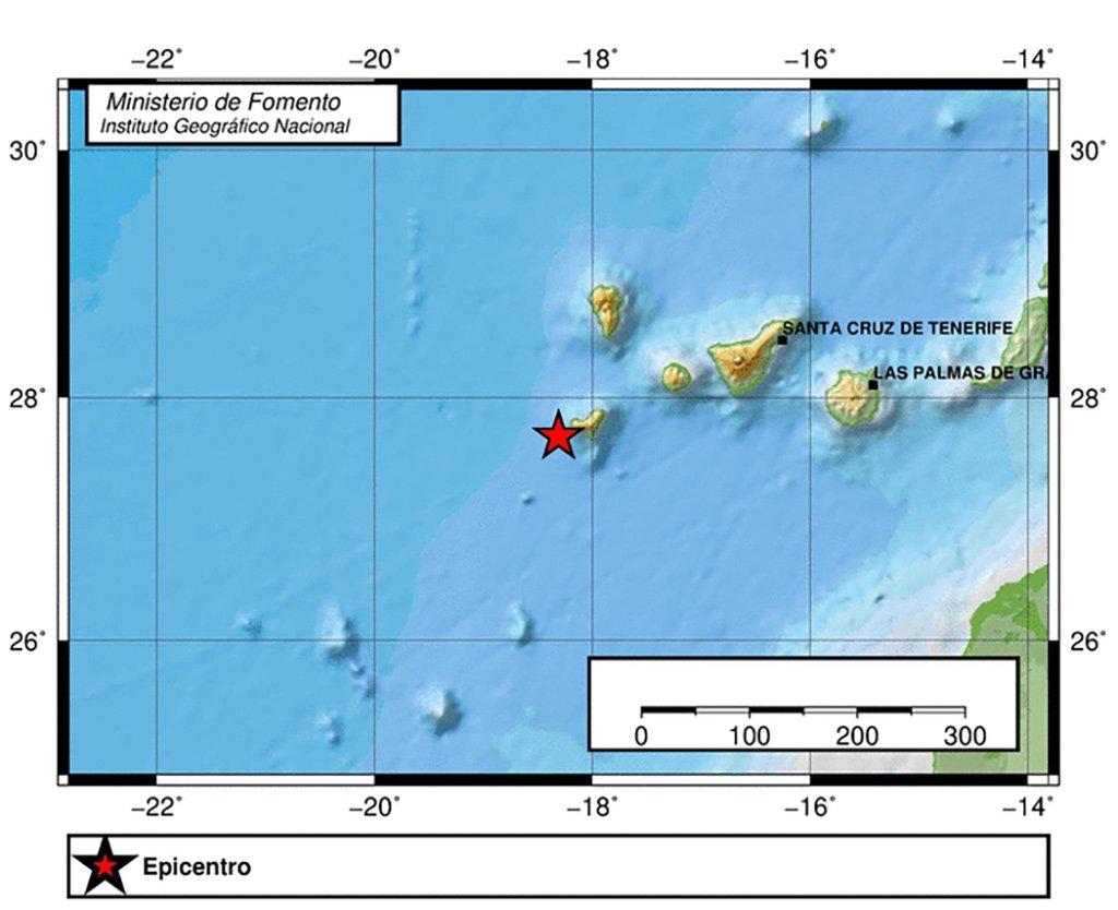 Небольшое землетрясение на Канарах, возле острова El Hierro